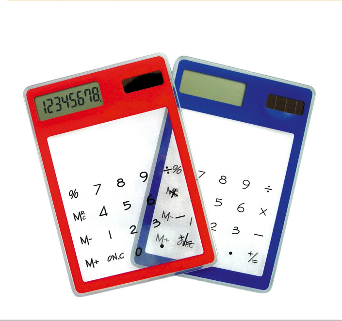 8 Digitals Solar Power Transparent Touch Screen Calculator with LOGO Priniting