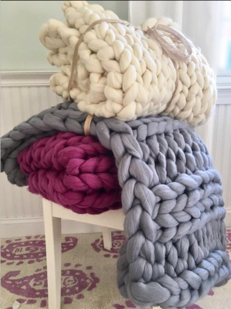 66s Chunky Giant100% Merino Wool Handmade Blanket with 100 colors in stock 100*100cm by Hand Knitting