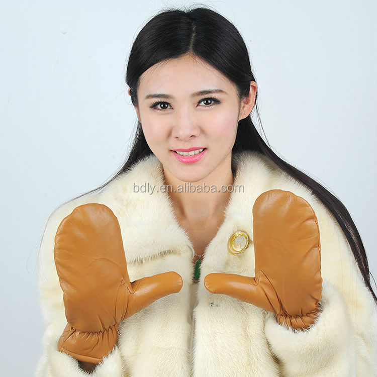 sheepskin leather Winter mittens for adults