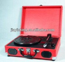 Handcrafted wooden Cabinet with PVC wrapping PC Encoding suitcase turntable player recorder