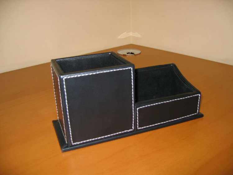 Leather office desk set file organizer desk pen holder - Leather desk organizer set ...