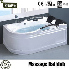 2 person cheap acrylic massage led light corner whirlpool bathtub