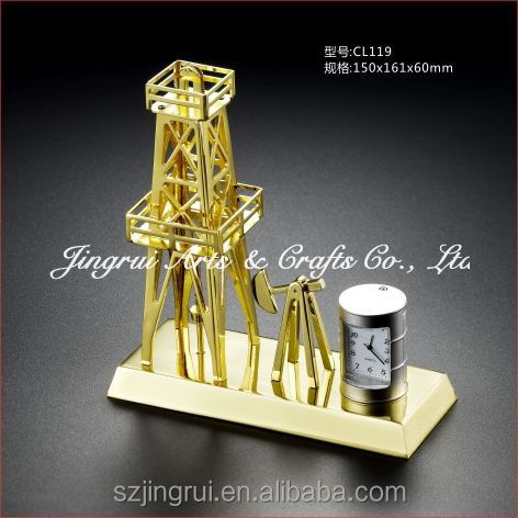 Golden oil equipment gift with clock CL119