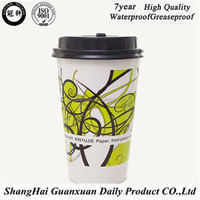 Cool drink paper cups/Company printed logo disposable PE 16oz single wall white coffee paper cups