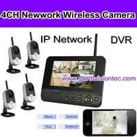4 channel cctv dvr kits with sound camera, 1TB, 32GB sd card, ISO/Android APP, 7 inch LCD, USB 2.0, night vision, AVI video