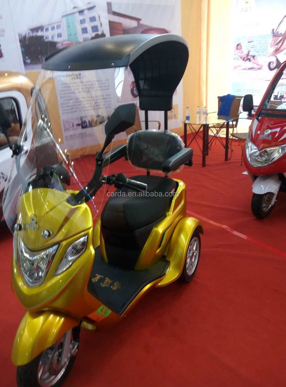 adult electric 3 wheel scooter/e-scooter sunshade roof/ electric tricycle with windshield