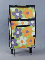 printing rolling grocery custom folding shopping tote bag with 2 wheels