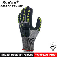 CE EN388 13g HPPE cut resistance nitrile impact oil gas gloves for glass handling