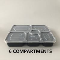 6 compartment flat lid PP Material Disposable sealable Plastic Take Away Food Container /Box Microwave