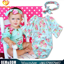 Wholesale girl clothing cotton baby girl romper+baby headband florals inftant puffy sleeve toddler clothes