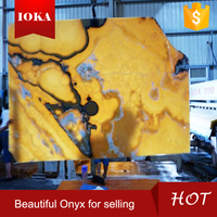 yellow agate polished onyx stone slab