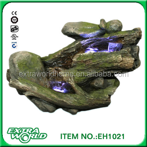 resin enchanted garden fountain with led light