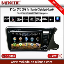 9inch car radio player for Honda City right hand drive with GPS bluetooth IPOD ATV 1080P video format support