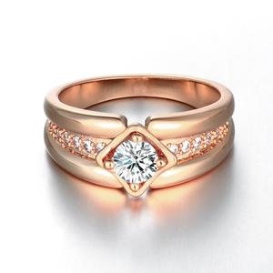 Beautiful 18K Real Rose Gold Plated Brass Cubic Zirconia Rings for Men