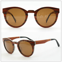 Rewood Wooden Aluminum Round Frame Sunglass Wholesale Hhigh Quality Cat 3 uv400 Sunglasses