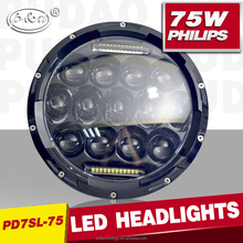4x4 Accessory round 75w 7inch headlight Hi/low beam car led light for truck