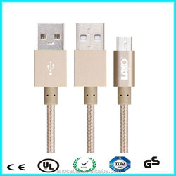 2m 6.6ft nylon braid gold 5 pin micro usb charger