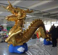 giant inflatable chinese carnival dragon with golden colors