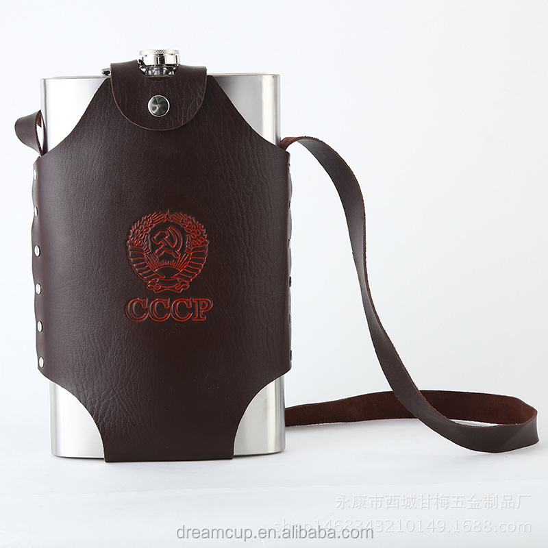 China suppliers wholesale cheap good quality stainless steel custom logo leather hip flask