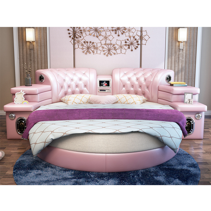 Charmant Girls Bedroom Furniture Pink Big Round Leather Bed,Cheap Round Beds For  Sale   Buy Round Beds,Cheap Round Beds,Round Beds For Sale Product On ...