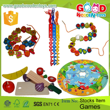 Hot Sale Lacing Toy Wooden DIY Puzzle Jigsaw Educational Games Beads Maze Cutting Fruit Set for Kids