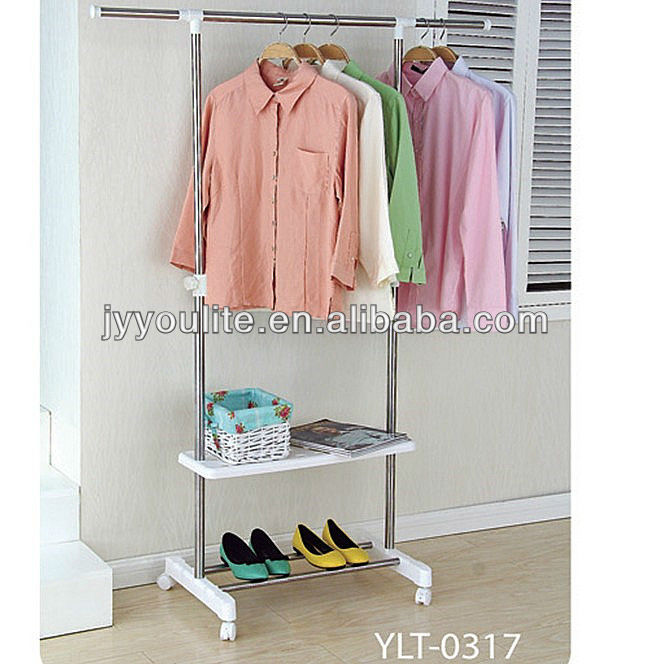 Movable telescopic clothes and shoes racks for sale