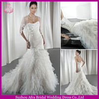 SD1051 backless corset back mermaid cut layer ruffle mermaid fishtail wedding dress