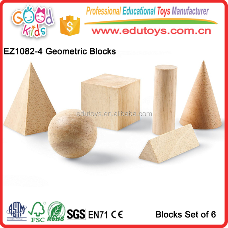 100% Safety Wood Building Blocks Toy, 6 Pieces Geometric Shapes Toy Blocks, Kindergarten Classroom Toy Blocks