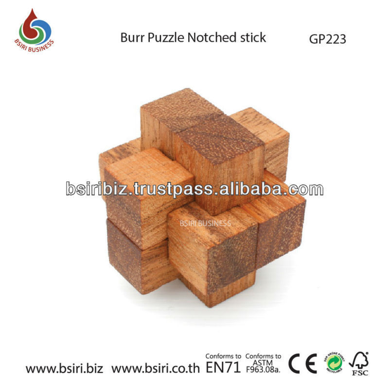 wooden puzzle Burr Puzzle Notched stick