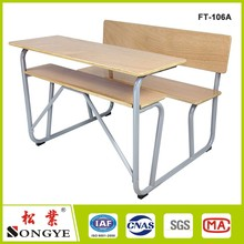Simple School Furniture Wooden student study table / MDF double seats classroom desk and chair for Primary School