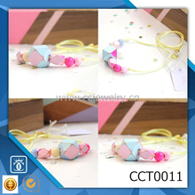 2015 SALE Girl's Blue + Pink Geo-Cube silk cord Glitter Necklace with clasp CCT0011
