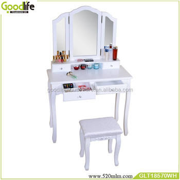 Vanity set dressing table with mirror and stool