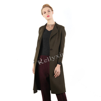 New Designed Amy Green Long Double-faced 100% Wool Coat for Women Winter Wool Coat