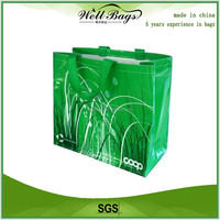 custom Polypropylene PP woven lamination coated shopping recyclable green bag