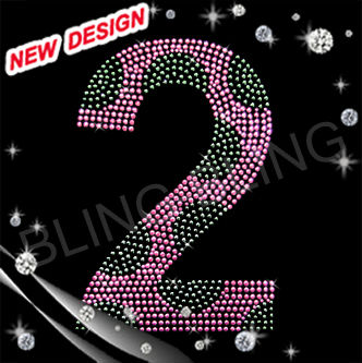 Custom birthday numbers 2 rhinestone crystal motifs