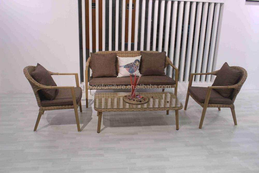 New design stackable rattan sofa set natural aluminum frame