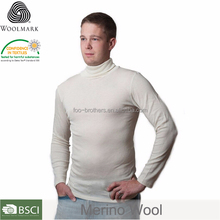 Organic Merino Wool-Silk Long johns Underwear Shirt, Long-Sleeves, Turtleneck Merino Wool thermal underwear