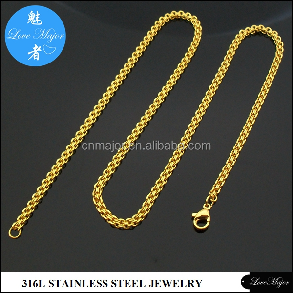 Yiwu yellow gold 3mm stainless steel cut diamond rolo link chain jewelry