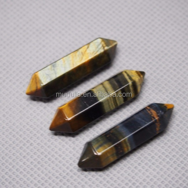 P01001 Yellow Blue Tiger Eye Double Terminated point