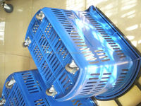 shopping basket with moving handle