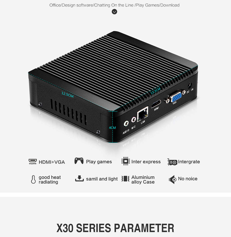Hot sale Fanless Compouter X30 N2830 Mini PC Win 7 Vensmile W10 mini cpu 8G RAM 32G SSD With VGA 1* Lan
