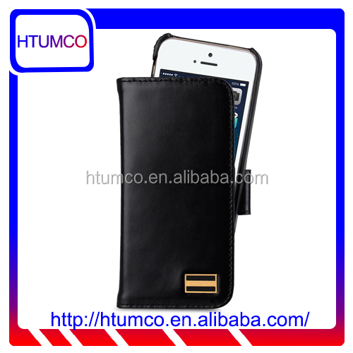 Removable Wallet Black Wax Leather Case for Apple iPhone 5s / 5 / SE