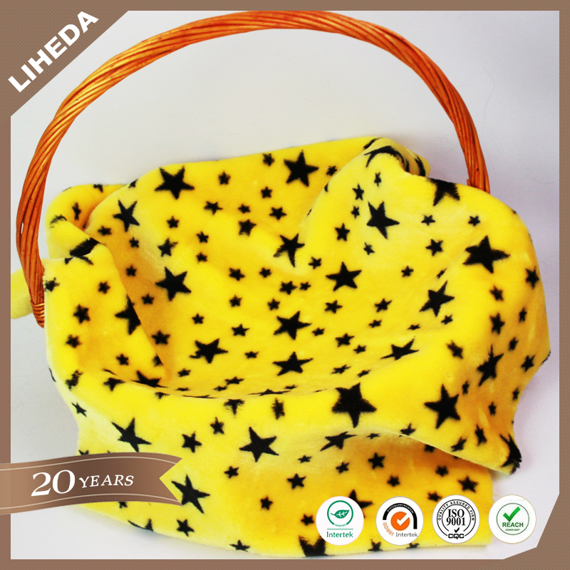 Polyester Knitted Print Star Faux Fur Five Star Printed Short Pile Fabric