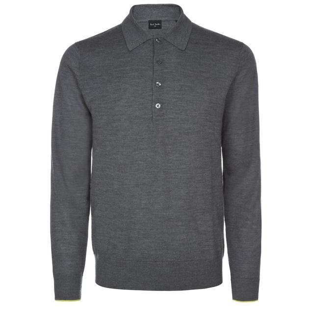 Men's Grey Merino Wool Polo Shirt