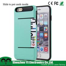 funky tpu pc combo card holder mobile phone case for iphone6 plus case cover