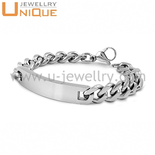Mens Stainless steel personalized medical ID bracelet