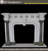 Pillars And Woman Head Decoratione Indoor Freestanding Marble Fireplace Mental