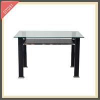 modern iron stainless steel tempered glass 4 seater dining table set