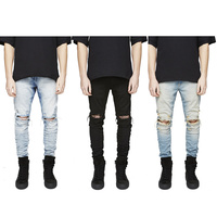 Mens Jeans Classic Ripped Pants Men