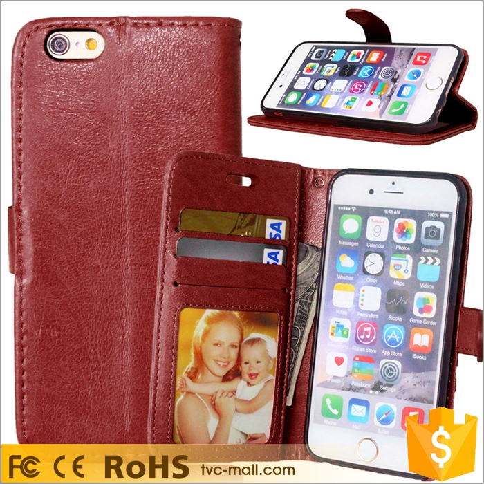 Wholesales Crazy Horse Wallet Leather Stand Cover for iPhone 6s 6, Newest Phone Case for iPhone 6s 6